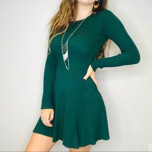 UO Rehab green ribbed knit sweater dress